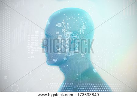Digitally generated image of human representation against micro parts of mother board 3D