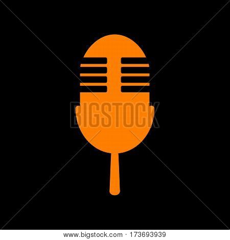 Retro microphone sign. Orange icon on black background. Old phosphor monitor. CRT.