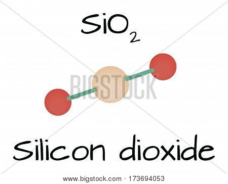 molecule SiO2 Silicon dioxide isolated on white