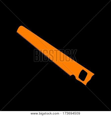 Saw simple sign. Orange icon on black background. Old phosphor monitor. CRT.