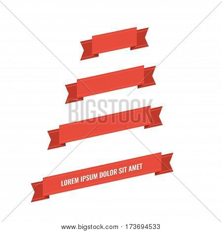 Red web ribbon banners set. Stock Vector Illustration