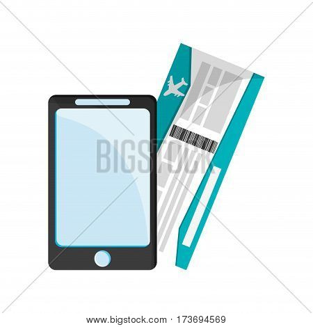 smartphone and pass board icon over white background. colorful design. vector illustration