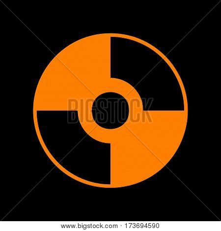 Vector CD or DVD sign. Orange icon on black background. Old phosphor monitor. CRT.