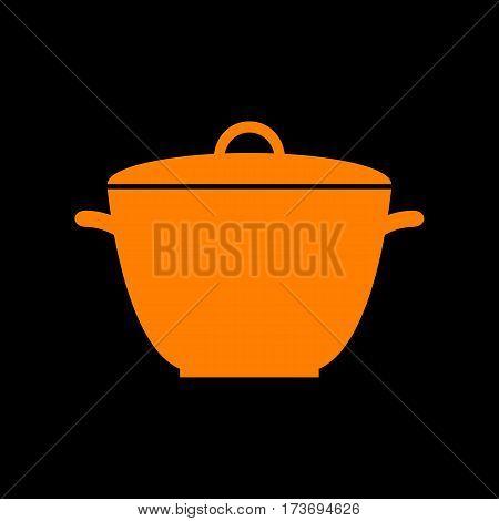 Saucepan simple sign. Orange icon on black background. Old phosphor monitor. CRT.