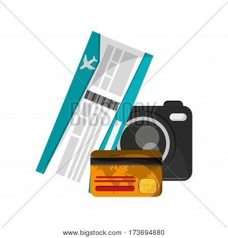 photographic camera, board pass and credit card icon over white backgrorund. colorful design. vector illustration