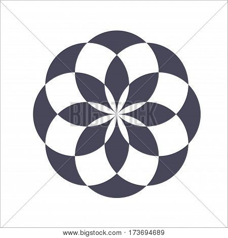 Monochrome elegant circular pattern in black and white. Circular mathematical ornament. A vector circular pattern from the crossed circles. Mandala.