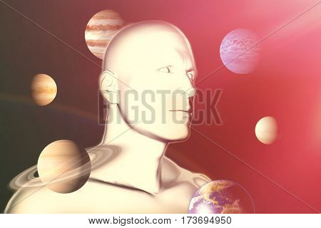 Digital composite image of planet uranus against black background