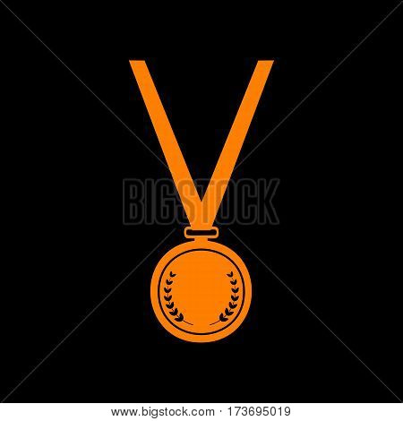 Medal simple sign. Orange icon on black background. Old phosphor monitor. CRT.