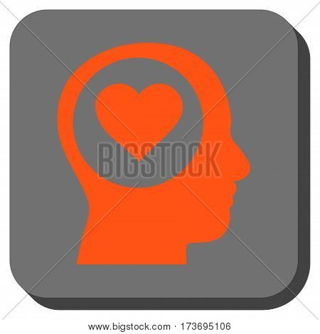 Love Thinking Head interface toolbar button. Vector pictograph style is a flat symbol inside a rounded square button orange and gray colors.
