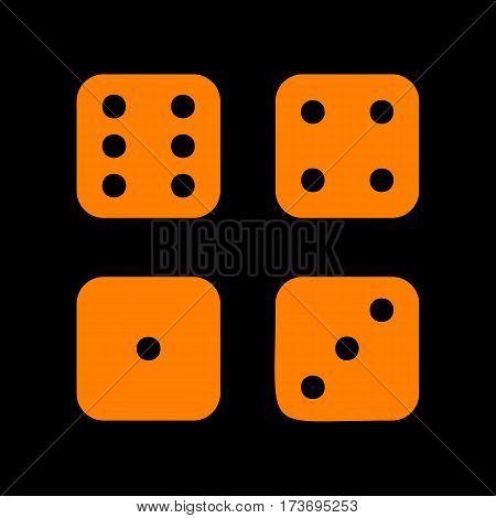 Devils bones, Ivories sign. Orange icon on black background. Old phosphor monitor. CRT.