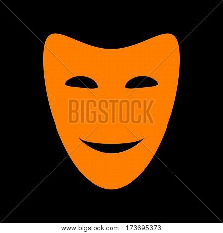 Comedy theatrical masks. Orange icon on black background. Old phosphor monitor. CRT.