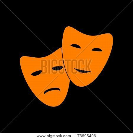 Theater icon with happy and sad masks. Orange icon on black background. Old phosphor monitor. CRT.