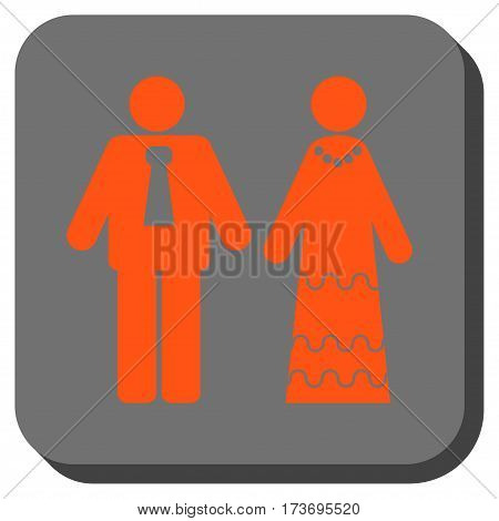 Newlyweds interface button. Vector pictograph style is a flat symbol in a rounded square button orange and gray colors.