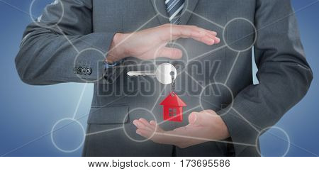 Mid section of businessman pretending to hold an object against purple vignette 3D