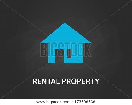 rental property concept illustration with a simple blue house with door and window and black background vector
