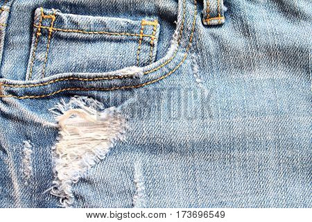 Fashion concept : Close up of women blue jeans detail with empty pocket