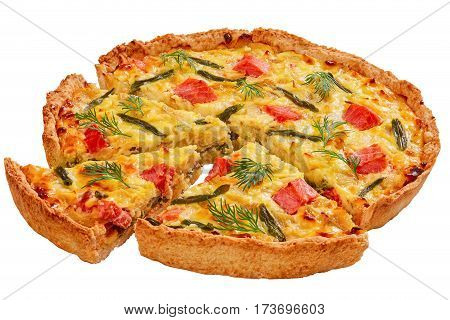 Quiche With Trout Isolated On White