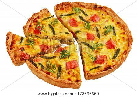 Quiche With Red Fish Isolated On White