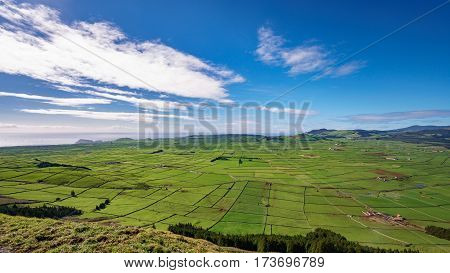 Top view of farm fields in the Terceira island in Azores, wide angle