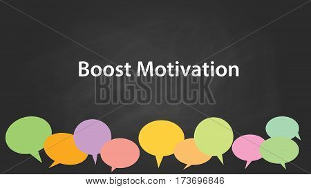 boost motivation white text illustration with black background and colourful callouts vector