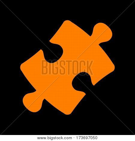 Puzzle piece sign. Orange icon on black background. Old phosphor monitor. CRT.