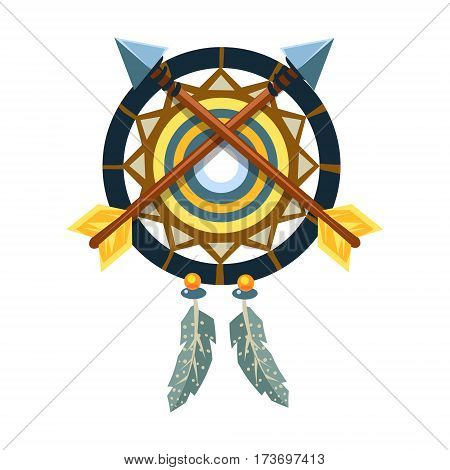 Dreamcatcher Charm With Crossed Arrows, Native American Indian Culture Symbol, Ethnic Object From North America Isolated Icon. Tribal Decorative Element Of Indian Tribe Life Vector Cartoon Illustration.