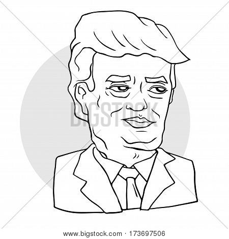 vector portrait of Mr President Donald Trump. President of the United States of America. Editorial vector illustration EPS8.