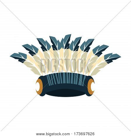 Tall War Bonnet With Feathers, Native American Indian Culture Symbol, Ethnic Object From North America Isolated Icon. Tribal Decorative Element Of Indian Tribe Life Vector Cartoon Illustration.