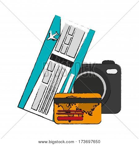photographic camera and credit card over white background. vector illustration
