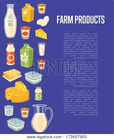 Farm products banner with different dairy icons and space for text, vector illustration. Nutritious and healthy products. Organic farming. Natural and healthy food. Blue dairy background