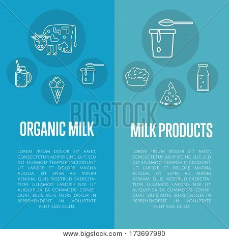 Organic products vertical flyers with different dairy icons in line style design, vector illustrations with space for text. Traditional and healthy products. Organic farming. Natural and healthy food