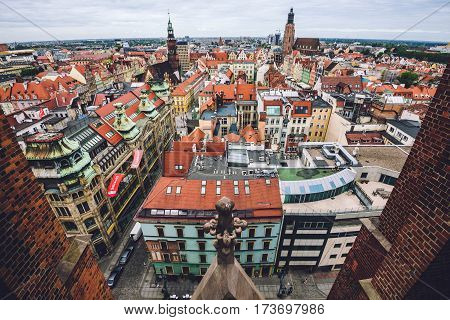 Wroclaw, Silesia, Poland - September 20, 2016. Wroclaw Old town panorama view from balcony of St. Mary Magdalene church. Wroclaw skyline with merchant houses, Old Town Hall and St. Elizabeth church.