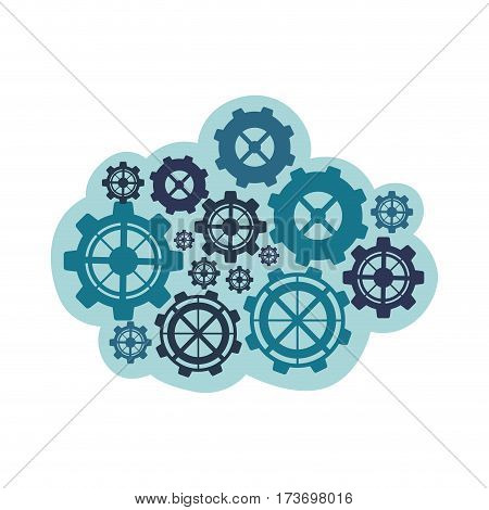 Blue gears icon image, vector illustration design stock