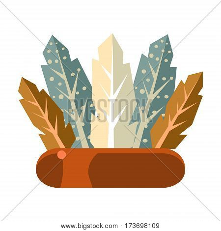 Soldier War Bonnet, Native American Indian Culture Symbol, Ethnic Object From North America Isolated Icon. Tribal Decorative Element Of Indian Tribe Life Vector Cartoon Illustration.