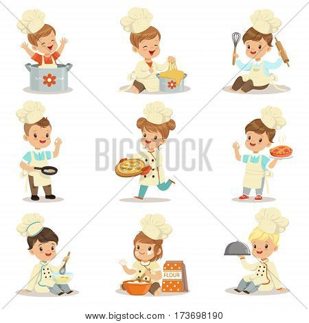 Small Kids In Chief Double-Brested Coat And Toque Hat Cooking Food And BAking Set OF Cute Cartoon Characters Preparing Meal. Children Cooks And Their Dishes Vector Illustrations.