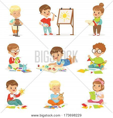 Little Kids In Art Class In School Doing Different Creative Activities, Painting , Working With Putty And Cutting Paper. Children And Creativity Set Of Cute Cartoon Characters Learning Craft Vector Illustrations.