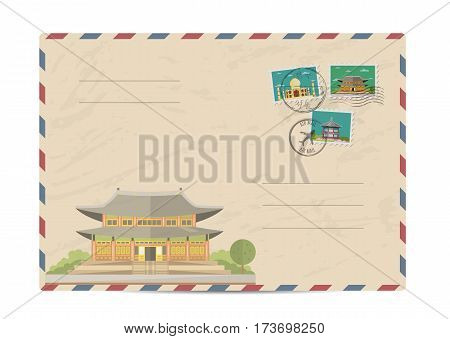 Chinese ancient temple. Pagoda tower. Postal envelope with famous architectural composition, postage stamps and postmarks vector illustration. Postal services. Envelope delivery