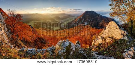 Panorama at autumn from peak Manin - Povazska Bystrica