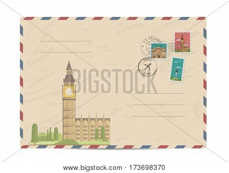 Big Ben and Westminster in London, UK. Vintage postal envelope with famous architectural composition, postage stamps and postmarks on white background vector illustration. Airmail postal services.