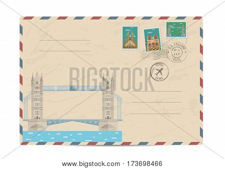 Tower Bridge Thames river in London, UK. Vintage postal envelope with famous architectural composition, postage stamps and postmarks on white background vector illustration. Airmail postal services.