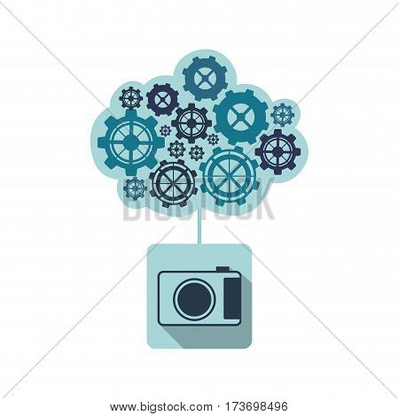 blue camara with cloud of gears icon, vector illustraction design image