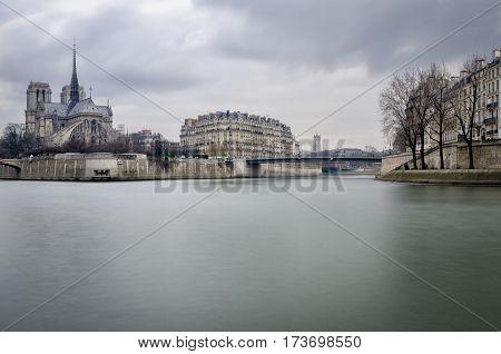 Paris scenic view on Notre-Dame and Ile de la cite