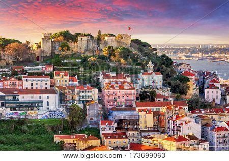 Lisbon Portugal skyline with Sao Jorge Castle