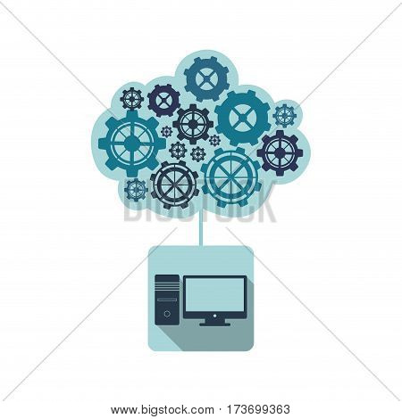 blue computer with gears cloud icon, vector illustraction design
