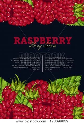 Organic berry banner with juicy raspberry vector illustration. Natural fruit poster, healthy sweet diet, vegetarian nutrition. Fresh berry fruit advertising promo with ripe raspberry and leaves