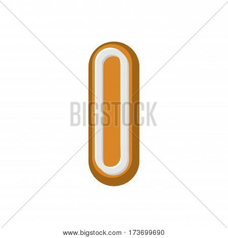 Letter I Gingerbread. Peppermint Honey-cake Font. Cookies Alphabet. Lettering Biscuit