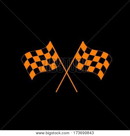 Crossed checkered flags logo waving in the wind conceptual of motor sport. Orange icon on black background. Old phosphor monitor. CRT.