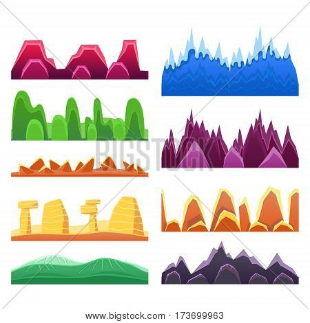 2D Rock And Mountain Profile Elements Set In Bright Color, Video Game Landscaping Of Alien Planet Background Relief. Desert Maintains And Hills Collection OF Seamless Landscapes Of Flat Minimalistic Style.