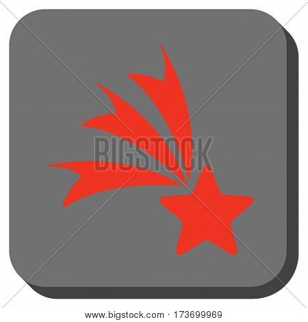 Falling Star toolbar icon. Vector pictograph style is a flat symbol centered in a rounded square button, red and black colors.