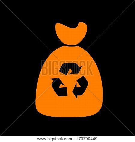 Trash bag icon. Orange icon on black background. Old phosphor monitor. CRT.
